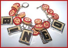 Soldered Bingo Game Piece Bracelet by LovelyVintageDesigns on Etsy, $40.00