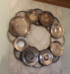 vintage platters/silver serving trays. I think this would be cute as a mirror