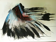 Watercolor. Indian chief headdress.