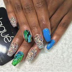 Swarovski blue snakeskin nail full set with design $85 #laque #laquenailbar #getlaqued by laquenailbar http://ift.tt/1xFFoOg