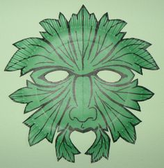 Greenman Mask (paper plate, sharpie marker, and sicssors).