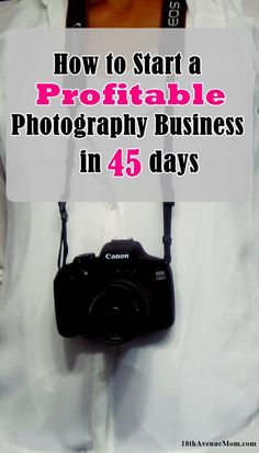 Starting a photography business is a great way to work from home. Startup costs are fairly low, and you can become a professional photographer in 45 days or less!
