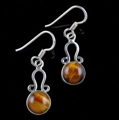 GIFT FOR ST. PATRICK'S DAY TIGER EYE STONE 925 STERLING SILVER HANDMADE EARRINGS #Unbranded