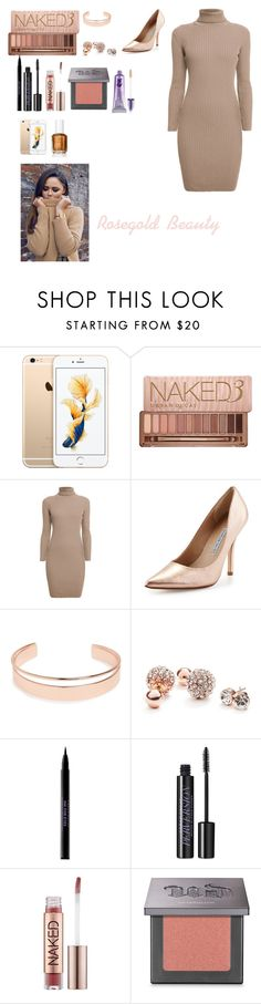 """""""Rosegold Beauty"""" by mrsstylik1999 ❤ liked on Polyvore featuring Urban Decay, Rumour London, Charles David, Leith and GUESS"""
