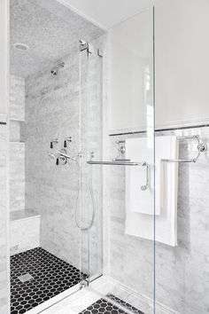 Contemporary Marble and Glass Shower Stall Updates Guest Bathroom Shower Floor Tile, Bathroom Floor Tiles, Glass Shower, Marble Tile Shower, Shower Ceiling Tile, Bathroom Faucets, White Marble Bathrooms, Marble Showers, Black Bathrooms