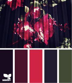winter floral palette from design seeds. Colour Pallette, Colour Schemes, Color Combinations, Color Patterns, Design Seeds, Pink Design, World Of Color, Color Swatches, Color Inspiration