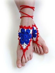 4th of July Barefoot Sandals. White Red Blue Flowers or 28 colors. Crochet Foot Jewelry. American flag color Accessory. Independence Day. by VividBear on Etsy
