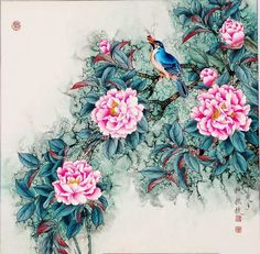 Paintings by Jin Hongjun Chinese Painting Flowers, Chinese Flowers, Jin, Beautiful Drawings, Beautiful Paintings, National Art Museum, Blog Design Inspiration, Creation Photo, Art Pictures
