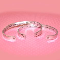 Best Friend Gift - Friendship Secret Message Personalized Custom Hand Stamped Aluminum Cuff Bracelet Set by Korena Loves. $44.00, via Etsy.