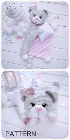Chat Crochet, Crochet Lovey, Cotton Crochet, Crochet Patterns Amigurumi, Crochet Dolls, Baby Lovey, Lovey Blanket, Baby Comforter, Teething Toys