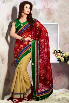 Red-violet and Sea Green Benarasi Net and Jacquard Festival Saree Sku Code:314-3940SA390657