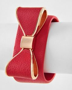 Red Gold Tone Bow Faux Leather Cuff Bracelet Snap Closure; Adjustible.  Cute for Valentine's Day!