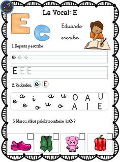 Fichas para trabajar las vocales - Imagenes Educativas Spanish Class, Speech Therapy, Preschool Activities, Games For Kids, Kindergarten, Worksheets, Education, Reading, Children