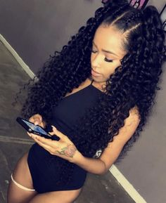 Uhair kinky curly brazilian virgin hair 4 bundles with lace closure,Factory direct sales 100 natural human hair extensions Black Girls Hairstyles, Pretty Hairstyles, Wig Hairstyles, Hairstyles 2016, Remy Human Hair, Human Hair Wigs, Curly Wigs, Curly Weaves, Remy Hair