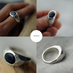 Double Faceted Blue sapphire silver ring by Minicyn on Etsy, €230.00