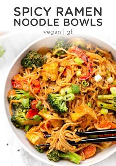 These healthy vegan red curry noodle bowls are flavorful, saucy and super easy to make! Served with vegetables, crispy tofu, and gluten-free noodles