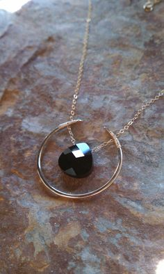 Maybe...  Bella Luna Necklace in 14k Gold fill and black by MistyEvansDesign, $95.00 mixing the gemstone and circle
