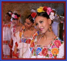 """""""Yucatecas  Mexican women  Mexico"""" I've seen tops that looked a lot like these dresses...so amazing!"""
