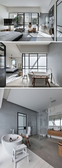This master bedroom has its own private balcony, and flows through to the large bathroom with standalone bathtub and corner shower with a glass surround.