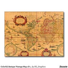 Colorful Antique Vintage Map of the World Postcard