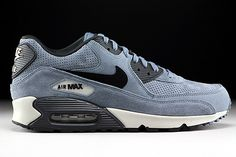 Nike Air Max 90 Leather Premium Blaugrau Schwarz Anthrazit #airmax