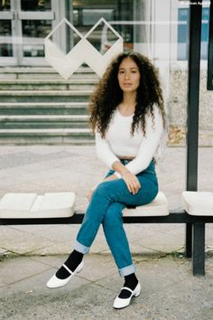 Sheily wears the Fuzzy Cropped Sweater and High-Waist Jean around Berlin, October 2014.