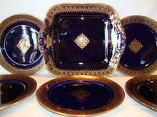 Awesome French Faience Cobalt & Gold Filigree ~ Cake Plate with  5 Dessert Plates ~ Utzschneider & Co Sarreguemines France 1889 -1892