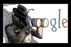 "Political Cartoon.  This political cartoon is creative. The man wearing the uniform of NSA (National Security Agency) are using the lenses of the binoculars which is acting as the ""O""s, give it humor and creativity but still a clear message. In occurring news today, Google has taken flight on the NSA for snooping through company data."