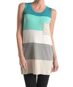 Another great find on #zulily! Emma's Closet Mint & White Color Block Sleeveless Tunic by Emma's Closet #zulilyfinds