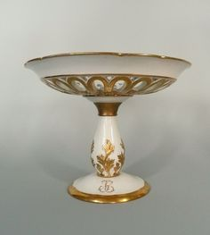 Antique 19th Century Old Paris Porcelain Tazza by Ed. Honore of Paris.  Honore made fine, exquisite porcelain for the Royals and Wealthy Noblemen of Europe.
