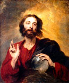 Cristo como gobernante mundial de Anton van Dyck.     Cristo representado como Salvator Mundi, la forma luz sobrenatural del Salvador del mundo. Su mirada se dirige fuera de la imagen y aparece atrapado en otra esfera.