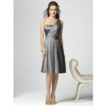 TYAD145 Chiffon One shoulder cocktail length Grey Bridesmaid Dresses