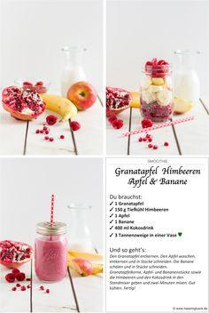 Smoothie Granatapfel Himbeeren Apfel Banane I Smoothie Pomegranate Raspberries Apple Banana I haseimglueck.de