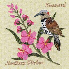 Northern Flicker & Fireweed pattern at P3 Designs