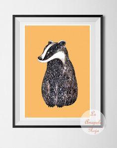 Badger art print, art print unframed, Badger poster, wall art, home decor, badger illustration, ink badger, ink drawing