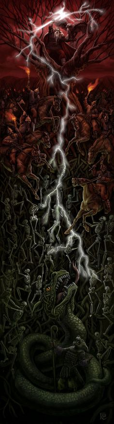 Perun versus Veles by *feliciacano Digital Art / Drawings & Paintings / Fantasy ©2007-2013 *feliciacano Painted in Photoshop and Painter. Perun is the Slavic God of lightning and War who lives in a great oak tree. Veles is the God of the Underworld and has a pet serpent.