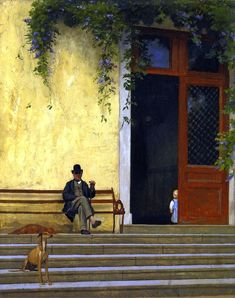 The Artist's Father and Son on the Doorstep of His House  1866 - 1867  Jean-Leon Gerome