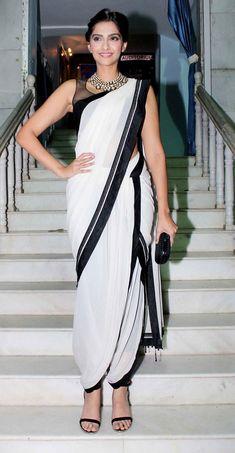 Z Fashion Trend: SONAM KAPOOR IN WHITE AND BLACK DHOTI SAREE