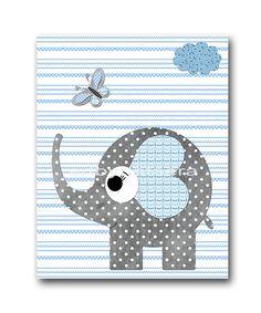 Elephant Nursery Baby Boy Nursery Decor Baby nursery print children art print Nursery Print Boy Art 8x10 elephant gray blue via Etsy