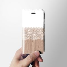 Lace wood iPhone 6 wallet case leather case iPhone 6 by Agathecase