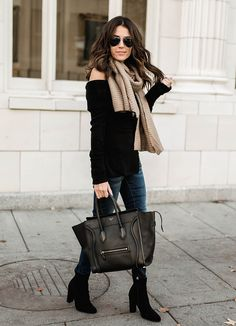 Pair a scarf with your off the shoulder sweater!