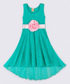 Look what I found on #zulily! Mia Belle Baby Green & Pink Crochet Hi-Low Dress - Toddler & Girls by Mia Belle Baby #zulilyfinds