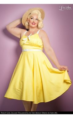 Pinup Couture- Molly Dress in Yellow with White Dots | Pinup Girl Clothing