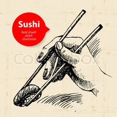 Hand drawn vintage Japanese sushi background | Vector | Colourbox