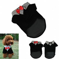 IUNEED Cute Small Pet Dog Clothes Western Style Gentelpet Suit Bow Tie Puppy Costume (Red, L) * Click image to review more details.