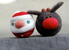 Needle Felted Rudolph The Red Nosed Reindeer and Santa Jingle Balls Made to Order ~ Cute Christmas Needle Felted Santa & Reindeer ~ ♥