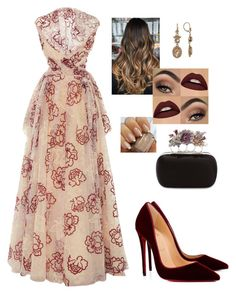 """Red Velvet"" by sambatley on Polyvore featuring Zac Posen, Christian Louboutin, Marchesa and Alexander McQueen"