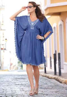 Spring!!  Embroidered Batwing Dress
