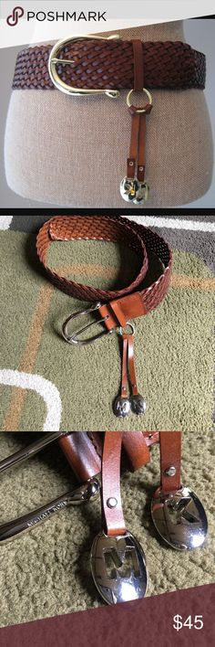 """Michael Kors belt🌺 Michael Kors woven style leather belt with silver hardware🌺 belt strap without buckle measures approx 40"""" Michael Kors Accessories Belts"""
