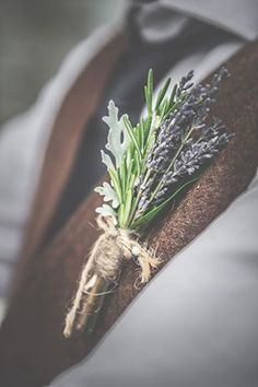 Lavender, rosemary simple string wrap boutonnieres #springwedding #summerwedding #boutonnieres
